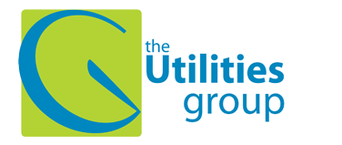 The Utilities Group blue text with meter emblem on green square background